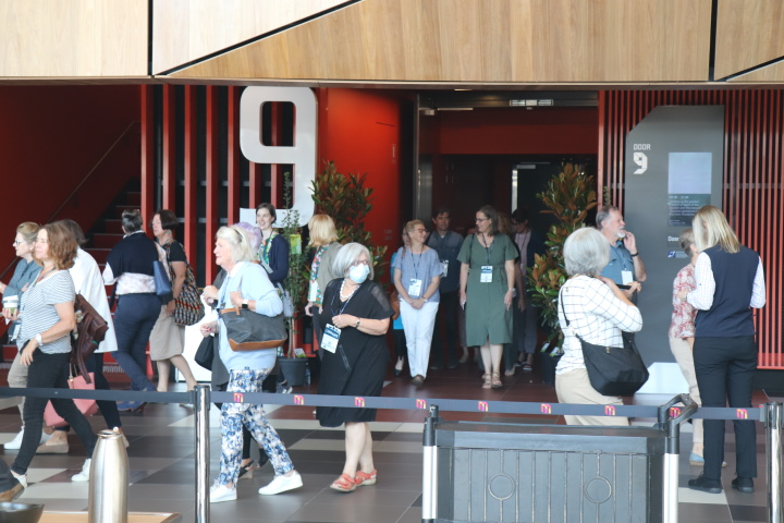 ALC attendees emerge from the auditorium at tea break